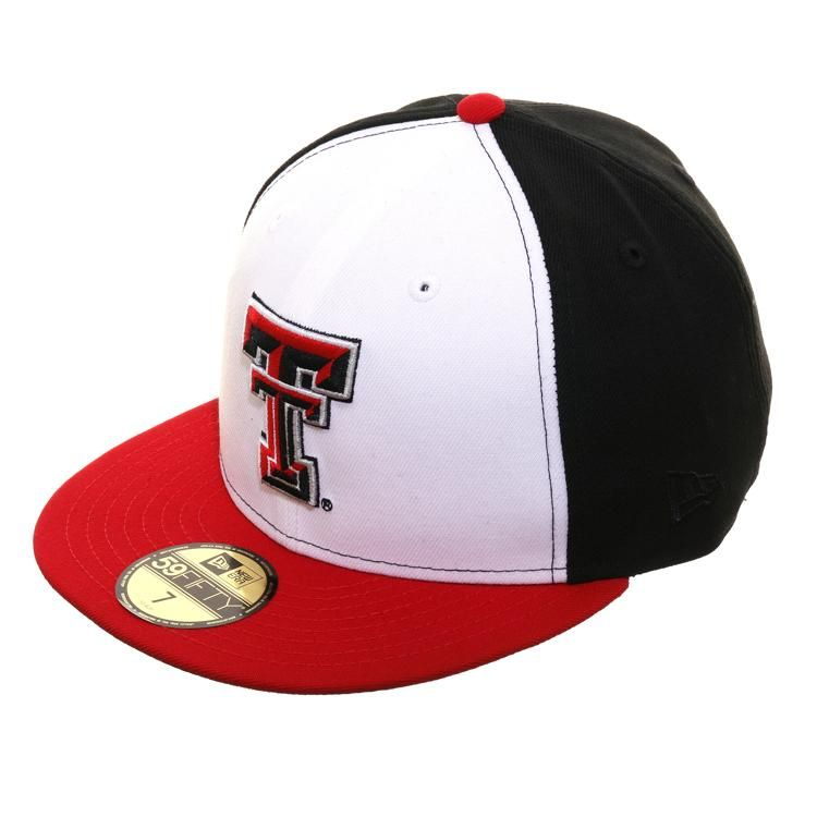 Exclusive New Era 59fifty Texas Tech Red Raiders Rail Hat White Black Red New Era 59fifty Texas Tech Red Raiders Red Raiders