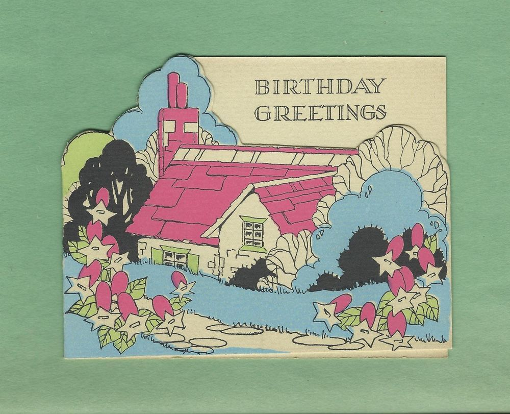 Lovely Country Cottage On Unused Vintage Art Deco Birthday Greeting