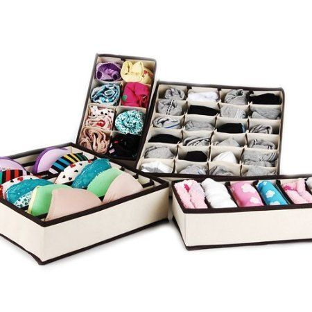 MIU COLOR® Collapsible Storage Boxes Bra Underwear Closet Organizer Drawer Divider 4 set, Color: Beige