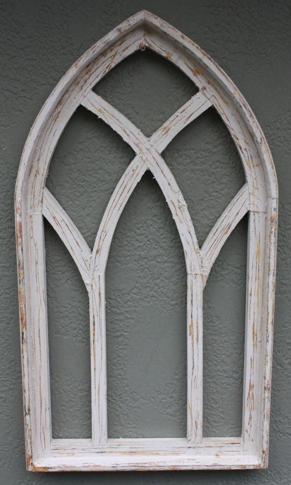 Wooden Antique Style Church Window Frame Primitive Wood