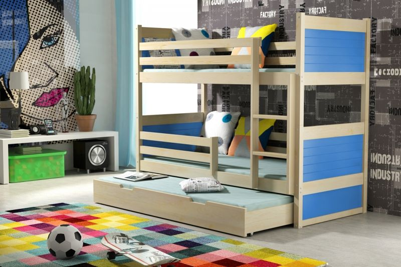 Etagenbett Dreier : Kinder etagenbett mit 3 matratzen blaue kinderbetten pinterest