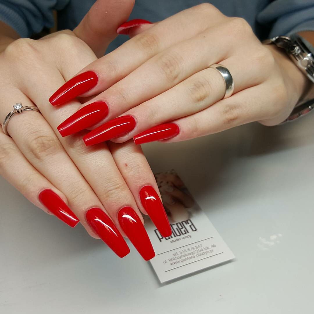 Red coffin... My love | Nails | Pinterest | Coffin nails, Make up ...