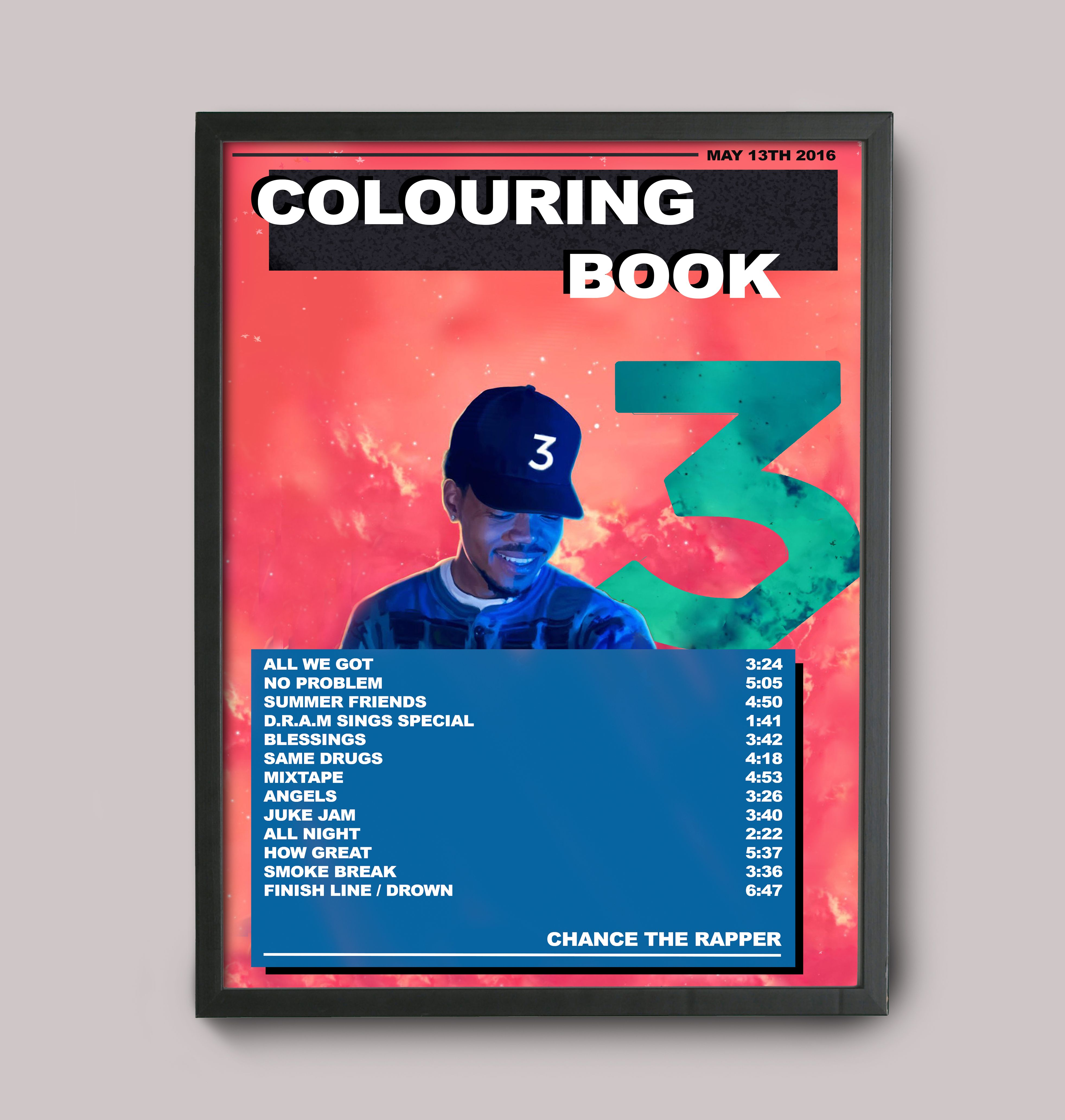 Chance The Rapper Colouring Book Custom Poster Coloring Book Album