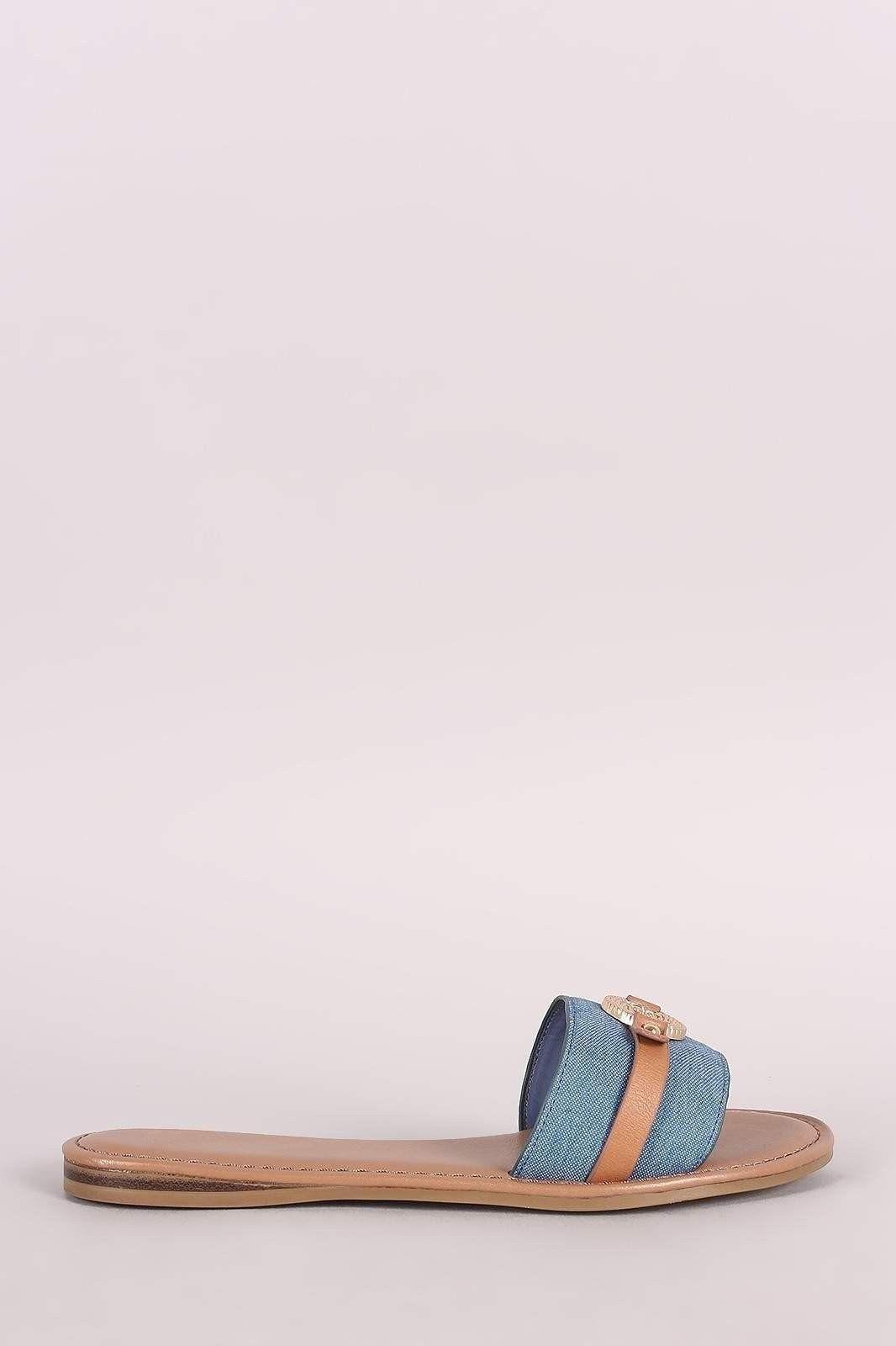 Bamboo Denim Coin Ornament Slide Sandal
