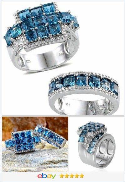 London Blue Topaz Princess Ring set 10.00 carats size 7 #ebay http ...