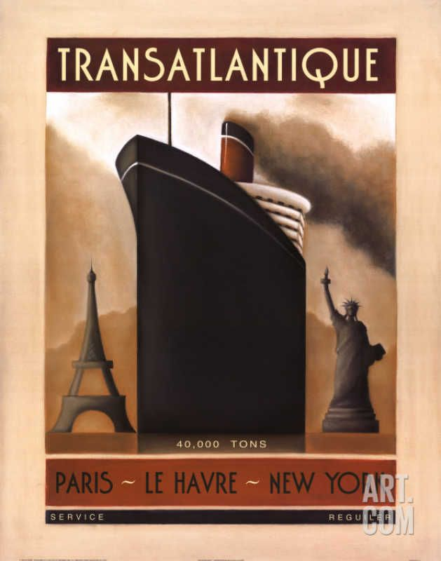 Vintage Art Deco Giclee Poster Print PARIS TRANSATLANTIC TRAVEL High Quality Fra