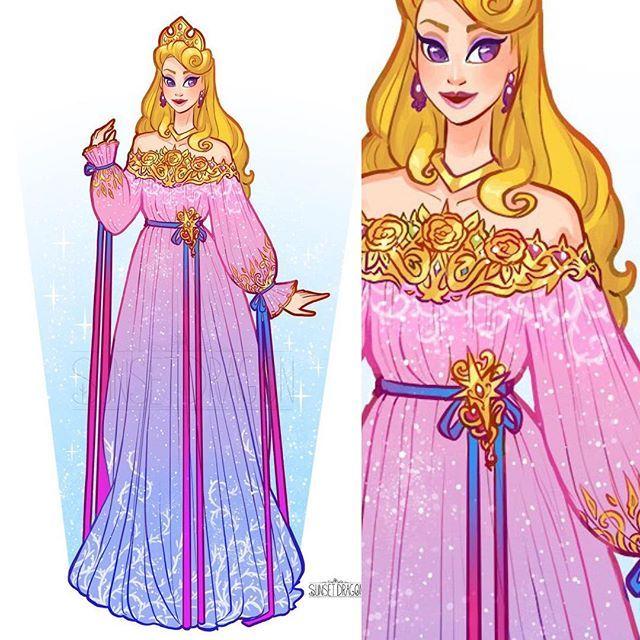 "🌸Sunset Dragon🌸 on Instagram: ""Aurora redesign from sleeping beauty 💖 #disney #sleepingbeauty #aurora"""