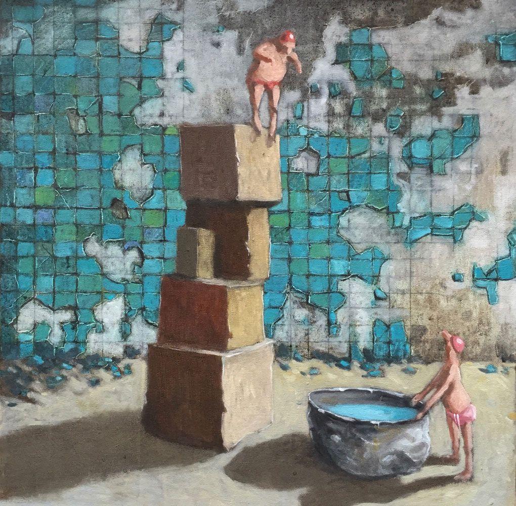 Thomas bossard artiste peintre le grand saut huile sur for Artiste peintre poitiers