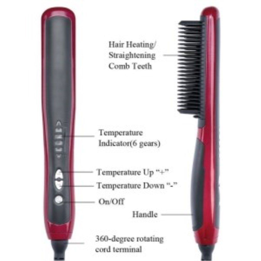 Rebune 29w Hair Straightener Comb Electronic Negative Ion Ceramic Tourmaline Flat Digital Instant Magic Hair Brush To View Magic Hair Hair Straightener Hair