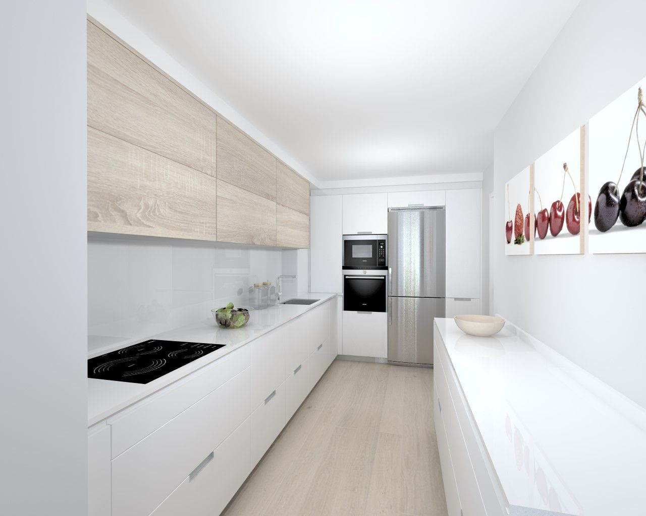 Equilibrio Entre El Blanco Y El Roble Cocina Blanca Y Madera Cocina Gris Y Blanca Cocinas De Casa