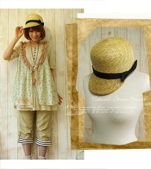 Cap type straw hat (casual ... forest girl hat) for the wearing that is this year one piece-like traditional fashion girly-style ♪ adult in ...