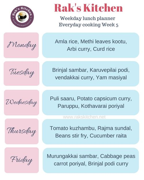 South Indian Meal Planner 5 For Weekdays Indian Food Recipes Lunch Planner Weekly Menu Planners