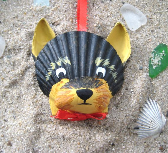 Yorkshire Terrier Yorkie Ornament Seashell Yorkie Ornament Beach Nautical Cape Cod Dog Art Shell Crafts Seashell Crafts Shell Animals