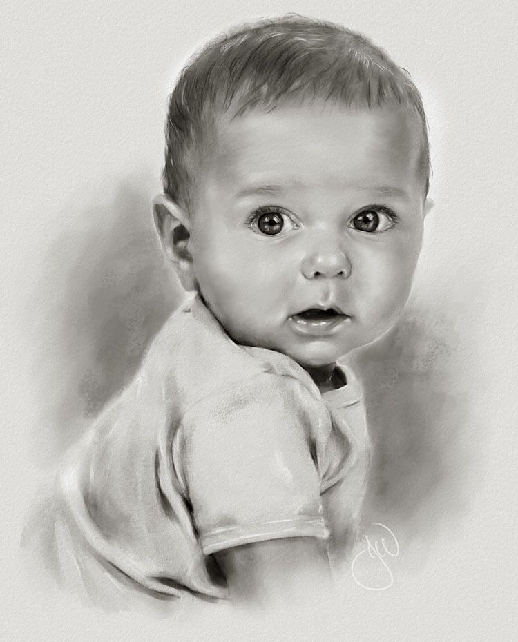 So artistic and captivating!!! | Baby face drawing, Baby ...