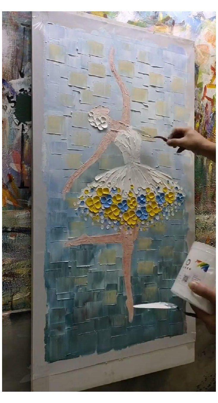 knife painting acrylic girl