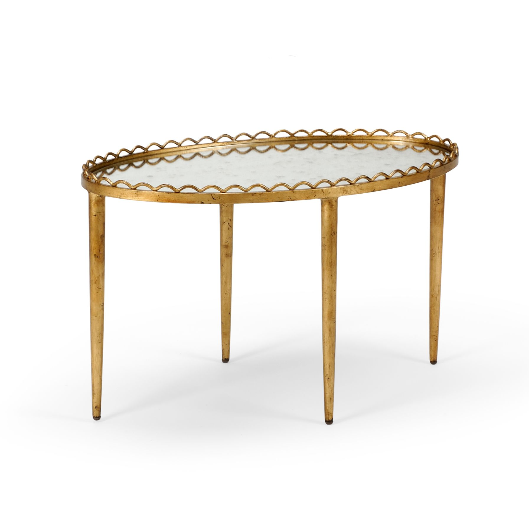 Iron Cocktail Table With A Gold Leaf Finish And Mirror Top On Backorder Call For Availability Coffee Table Coffee Table Furniture Table [ 1792 x 1792 Pixel ]