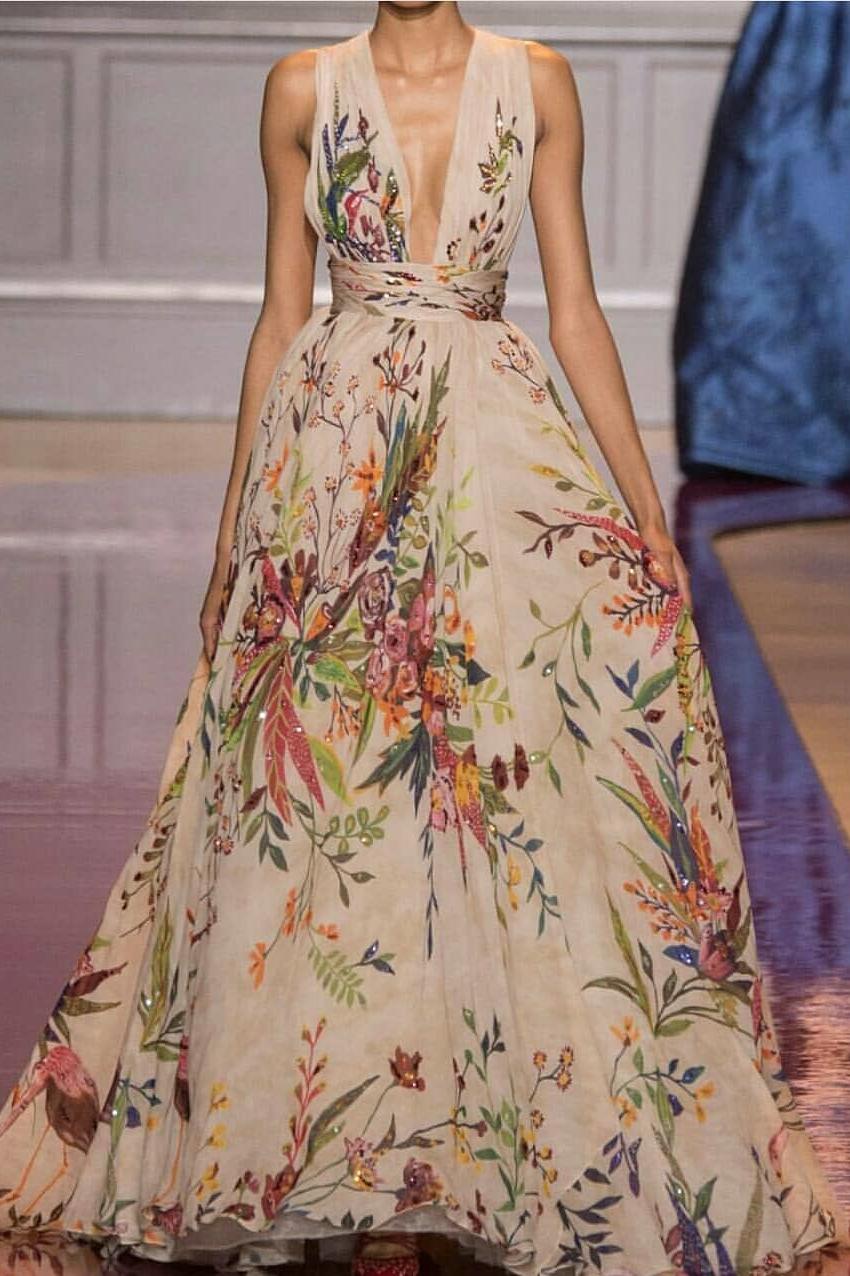c6cb4847b1 Sexy Deep V Collar Floral Printed Maxi Dress – Swankmyway