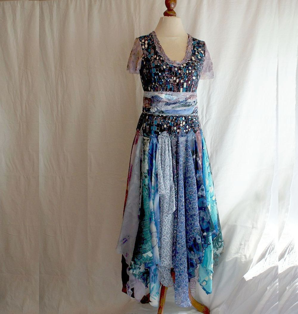 Romantic Tattered Dress Blue Purple Upcycled Woman's