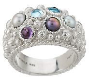 Black pearl  and Blue topaz ring J148813
