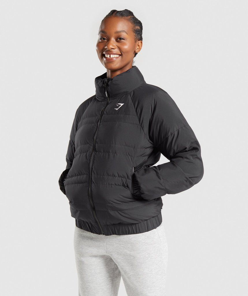 Gymshark Essential Puffer Jacket Black Puffer Jacket Black Jackets Puffer Jackets [ 1024 x 859 Pixel ]