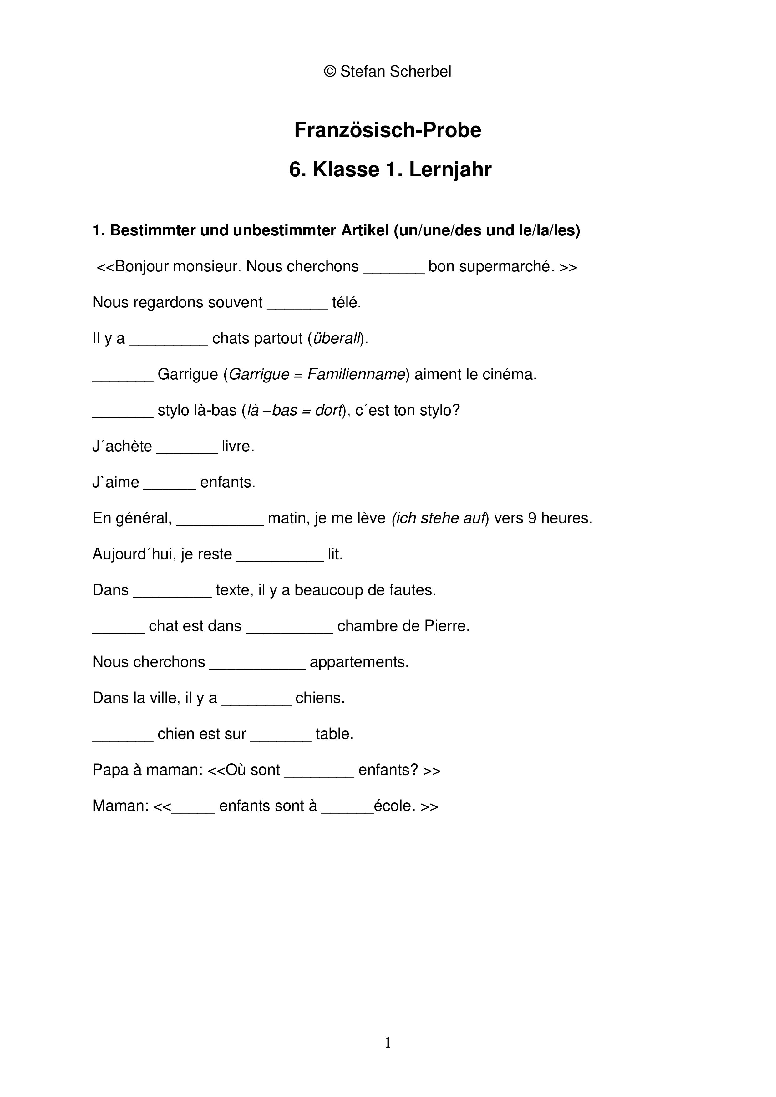 test 1 kennenlernen meine klasse