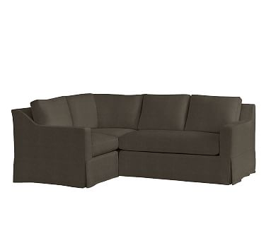 York Slope Arm Right Arm 3-Piece Corner Sectional Slipcover, Vintage Velvet Ebony