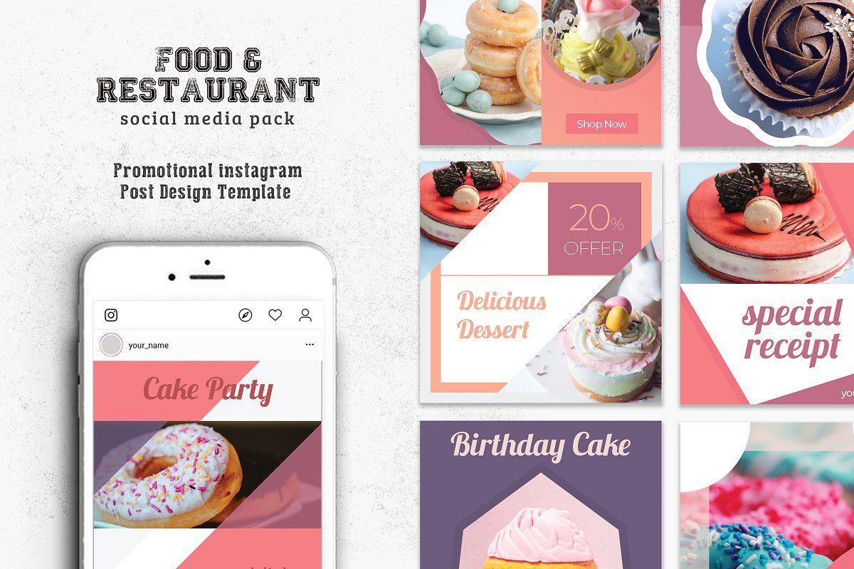 Promotional Bakery Social Media Pack Social Media Pack Photoshop Template Design Social Media