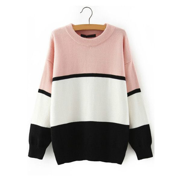Women Crew Neck Color-block Striped Sweater (35 AUD) ❤ liked on Polyvore featuring tops, sweaters, stripe top, striped crewneck sweater, block sweater, striped crew neck sweater e striped top