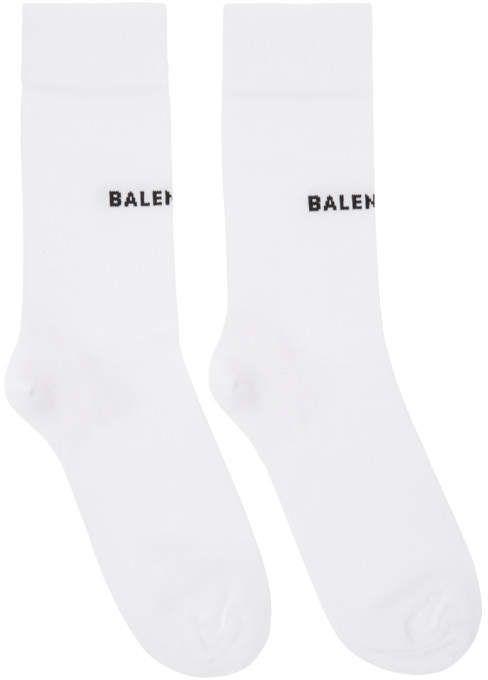 1a798329c9d Balenciaga White Tight Logo Socks