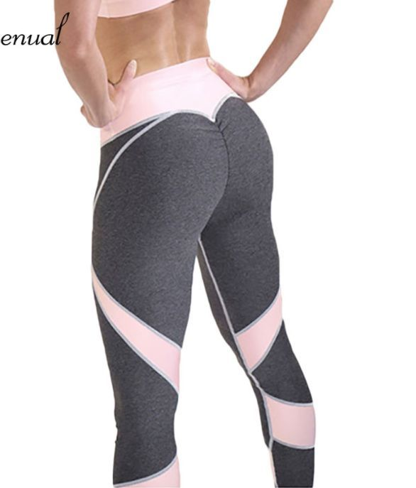 Women High Waisted Yoga Gym Leggings Fitness Black Mesh Elastic Pants Sportswear