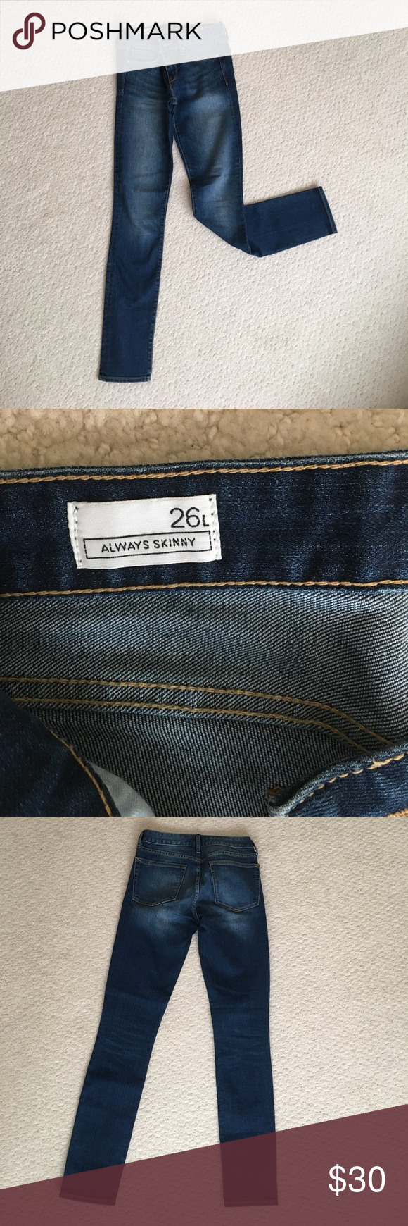 Gap Always Skinny Jeans Brand new Gap jeans! Medium wash. Never worn. Size 26 long. Perfect condition. GAP Jeans Skinny