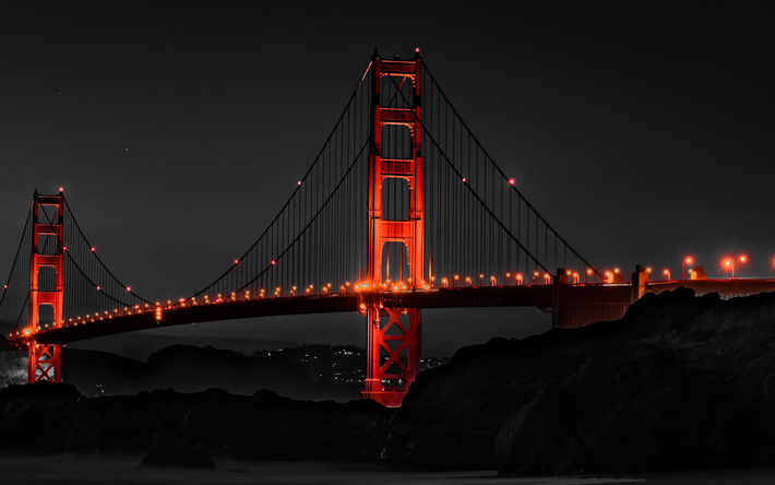 Download Wallpapers 4k Golden Gate Bridge Usa Red Bridge San Francisco Nightscapes America Besthqwallpapers Com Best Places To Live Living In San Francisco Golden Gate Bridge