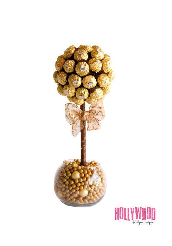 Ferrero Rocher Chocolate Gum Ball Brown,Gold Candy Arrangement ...