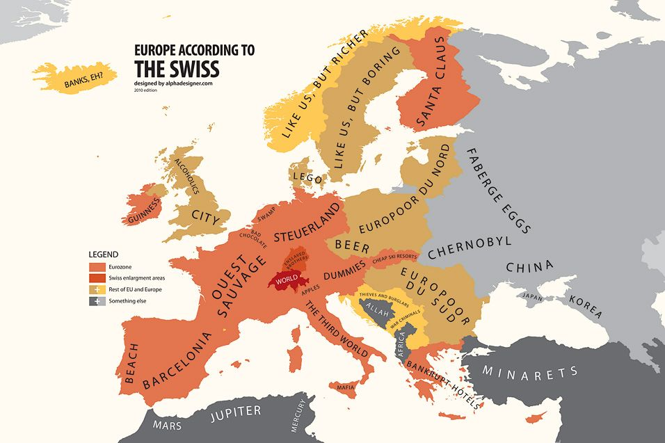 Europe According To Switzerland Funny Maps Pinterest - Travel europe from us map