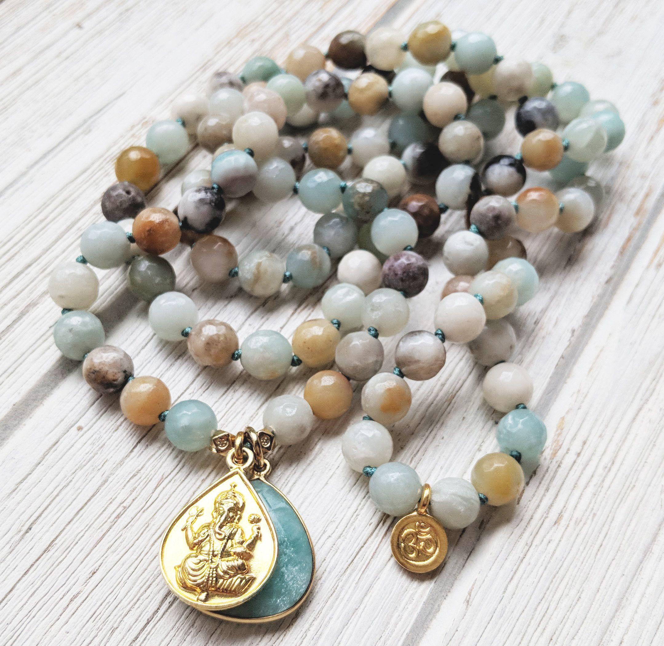 Om Ganesha New Beginnings Amazonite Mala Necklace Ganesha Mala