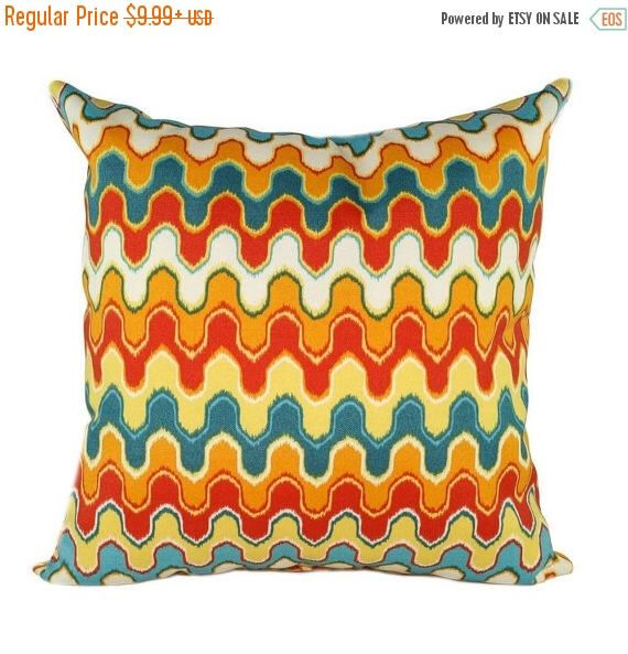 SALE Orange Yellow Red Cream Teal Ikat Pillow, Orange Outdoor Pillow,  Orange Wave Decorative
