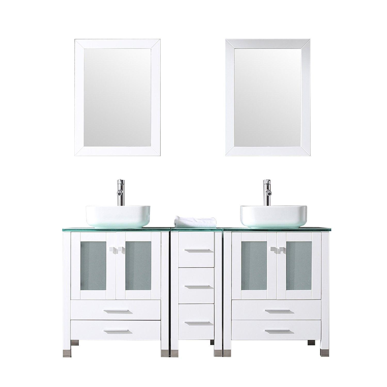 Walcut 60inch White Bathroom Vanity And Sink Bo Solid Mdf Cabinet