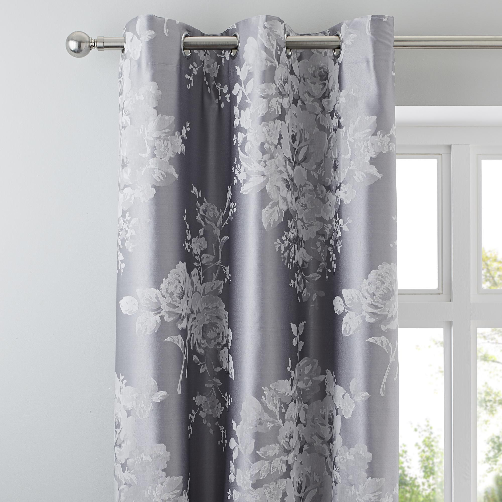 Dunelm Floral Design Cotton Soft Grey Laura Thermal Eyelet