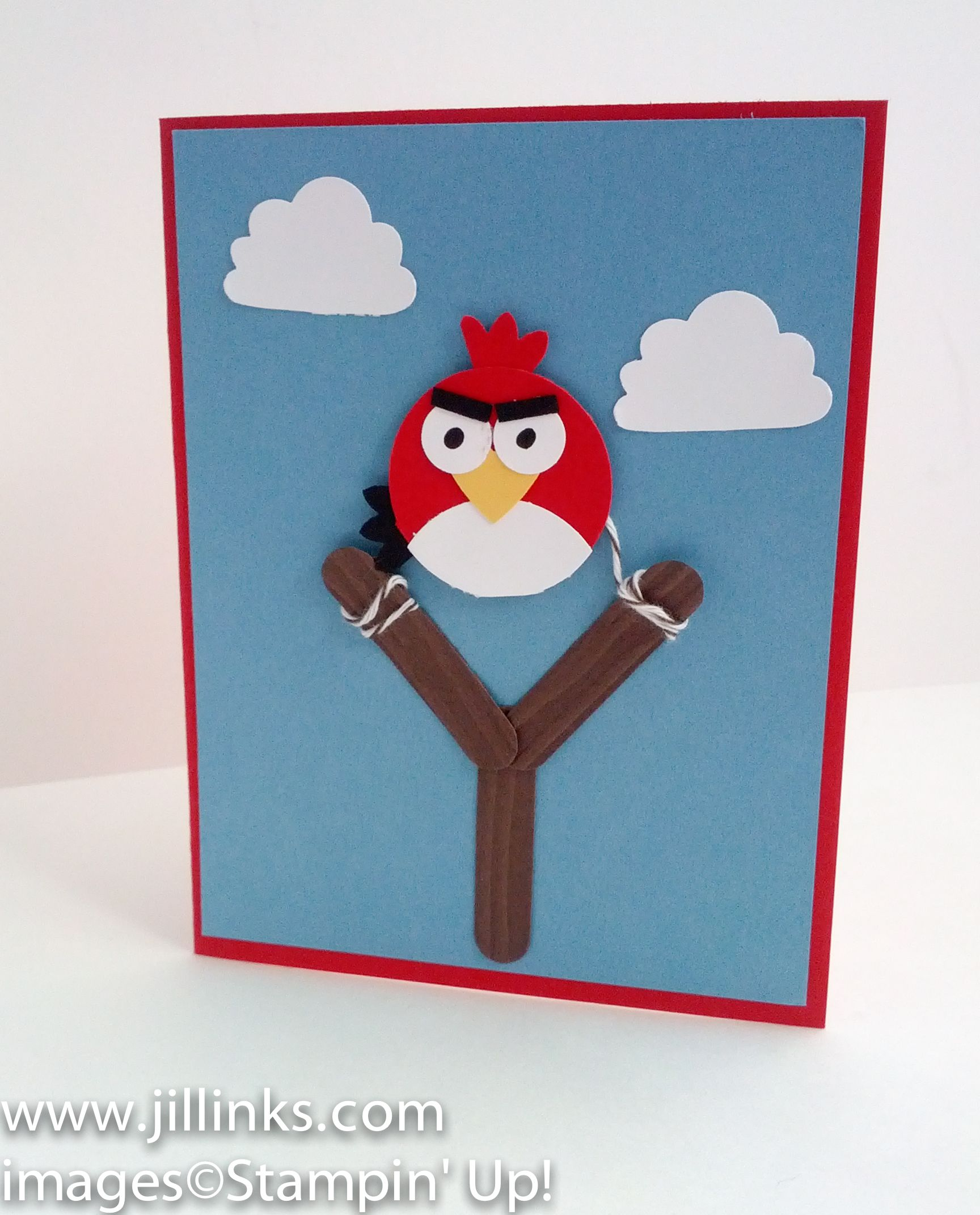 Angry birds birthday invitation punch art card front cards