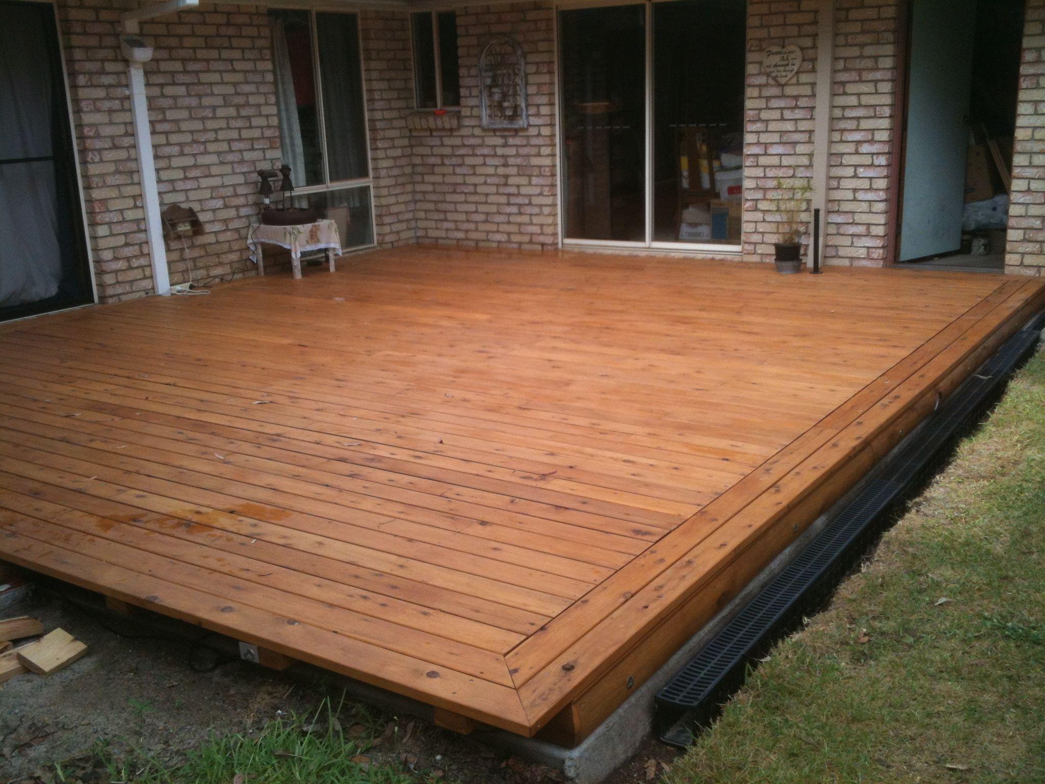 Cypress decking on a concrete slab | Porch/Bathroom Ideas ...