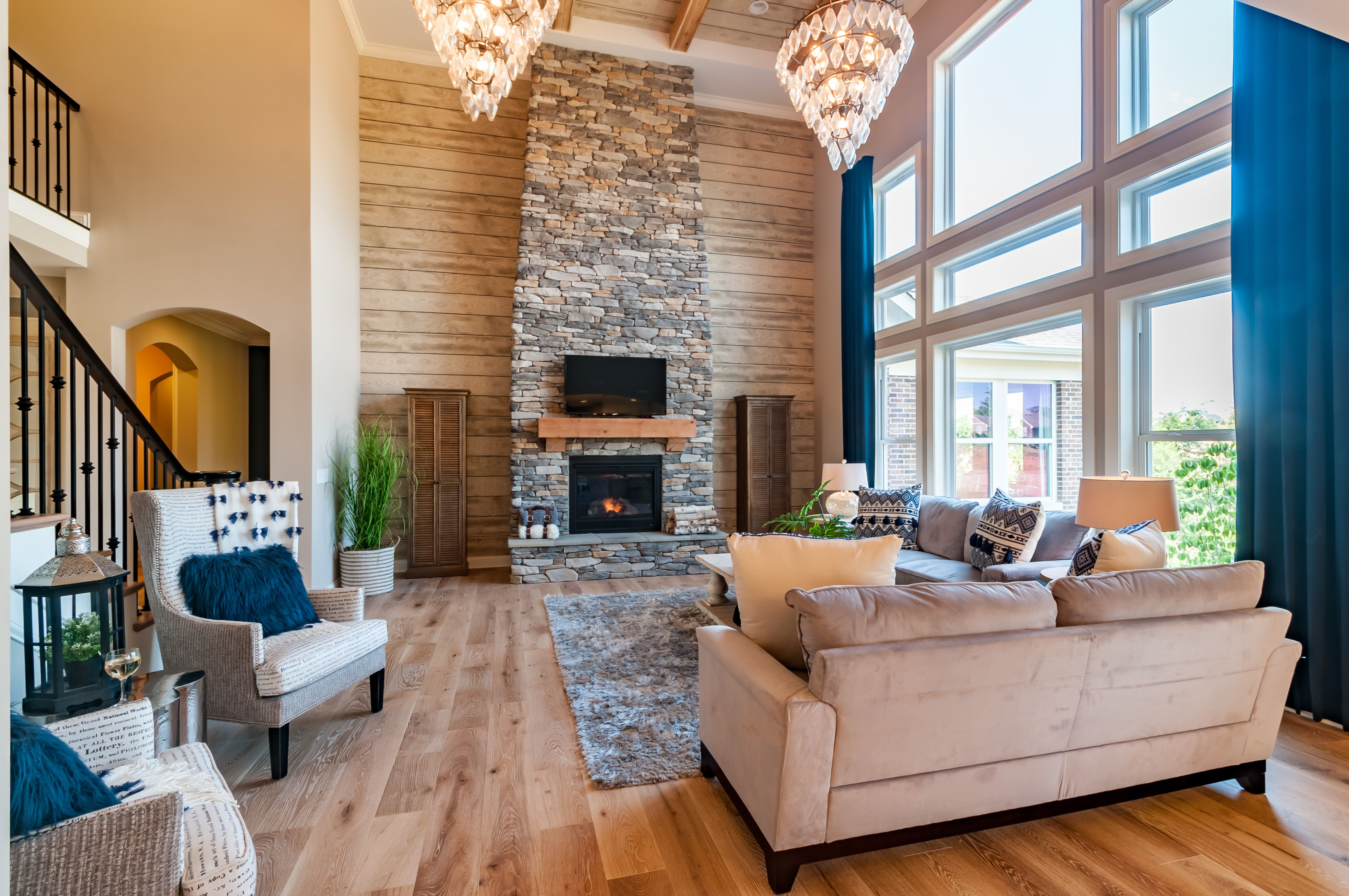 You Ll Love The Floor To Ceiling Stone Fireplace In This Two Story