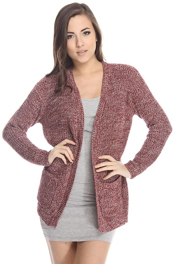 burgundy cardigan#knit cardigan#open front cardigan#sweater ...