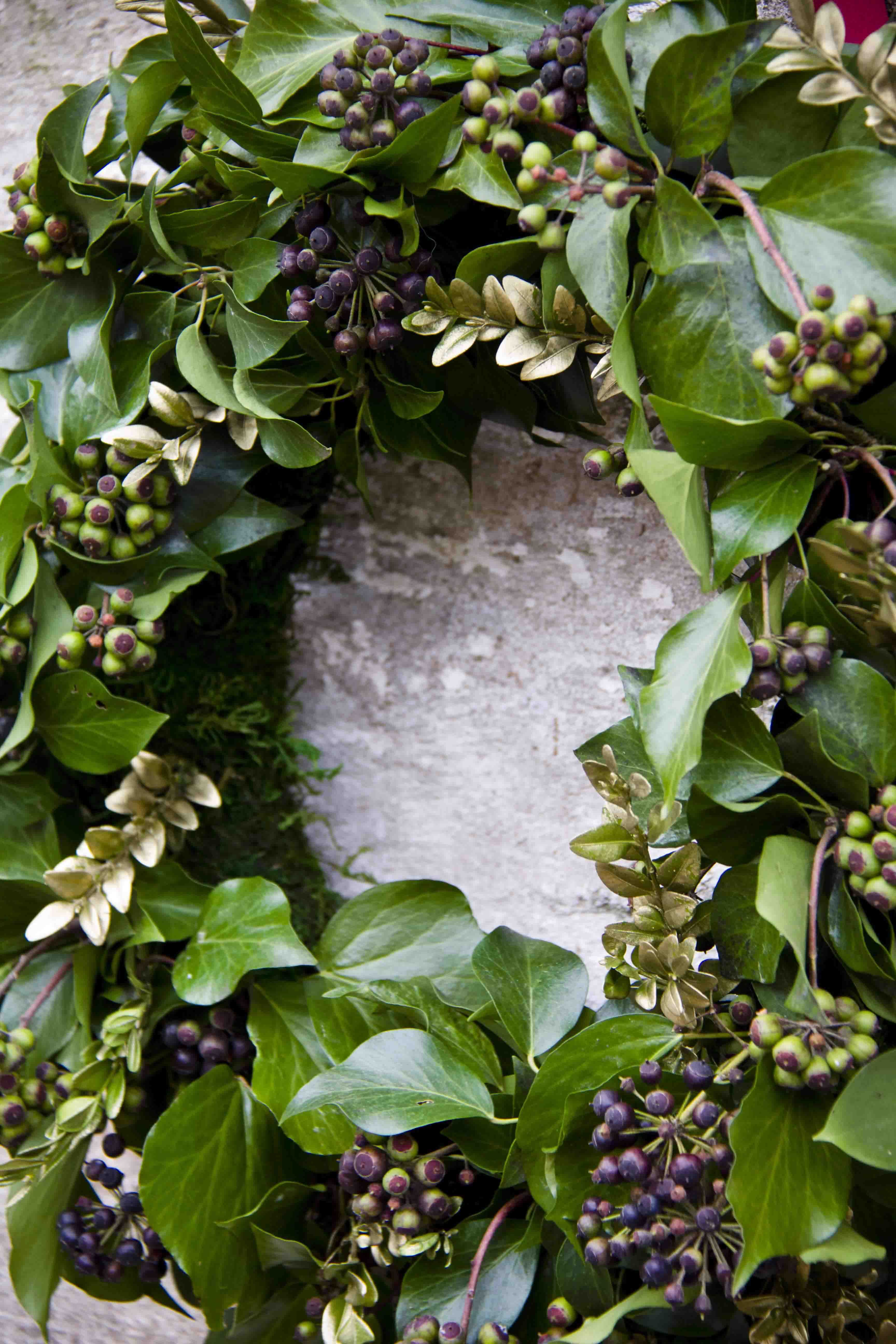 detail leafy berried ivy wreath by kristy ramage for christmas at
