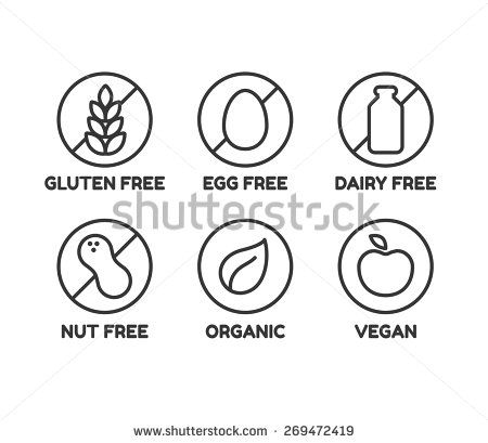Set of icons illustrating absence of common food allergens (gluten