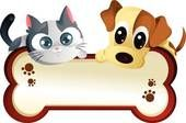 dog & cat clipart | Dog and cat with banner - clipart graphic