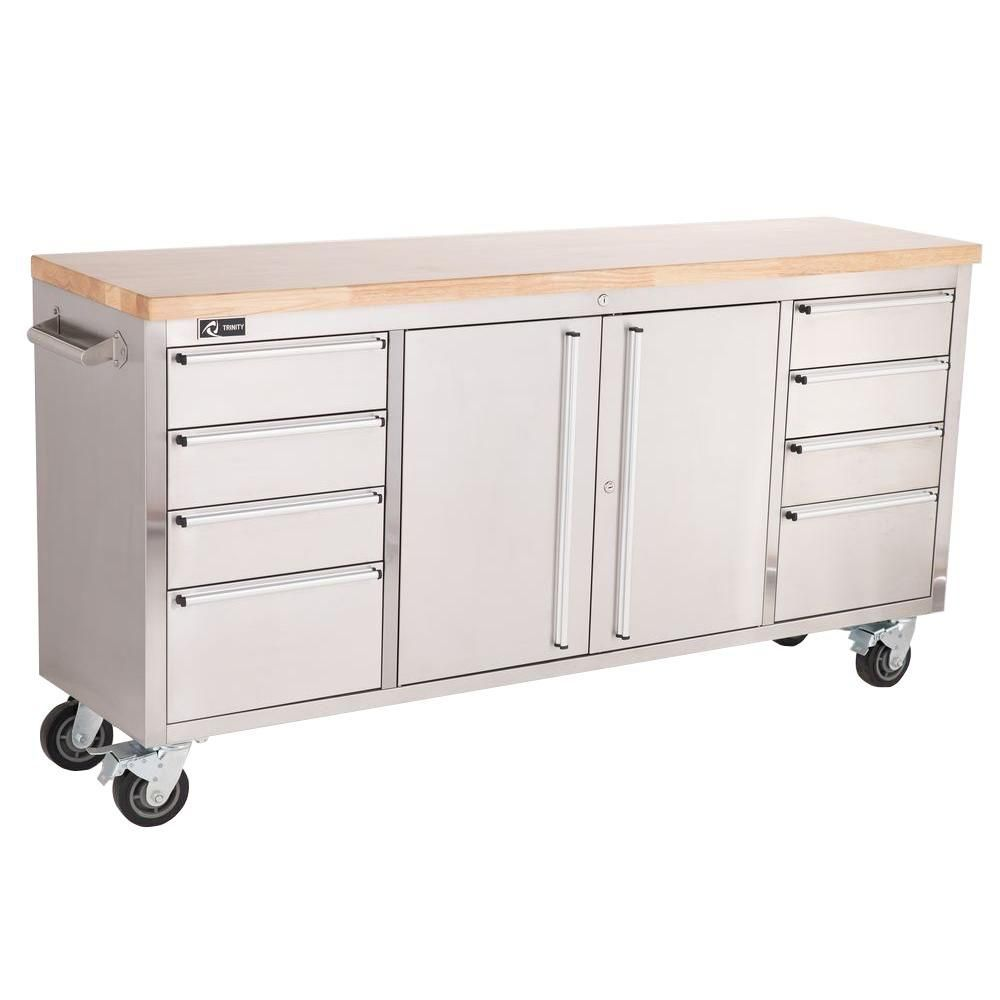 Trinity 6 Ft 8 Drawer Stainless Steel Corner Rolling Mobile Workbench With Storage Tls 7204 The Home Depot Rolling Workbench Workbench With Storage Steel Workbench
