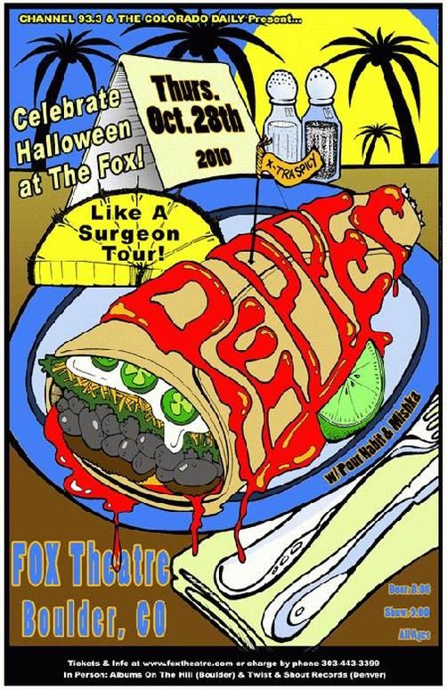 Original concert poster for Pepper at The Fox Theatre in Boulder, CO for Halloween in 2010. 11x17 card stock. Art by Mark Serlo.