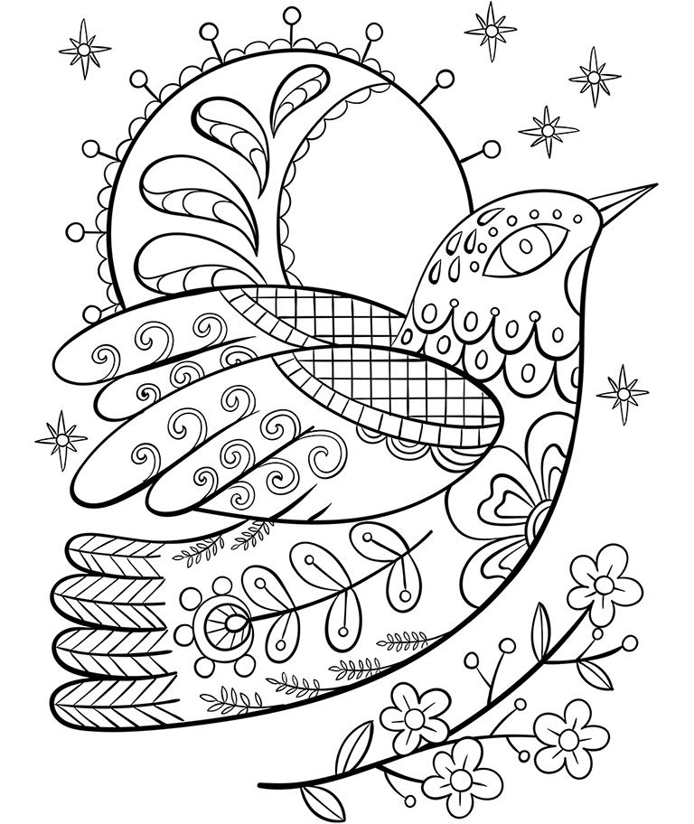Ornate Dove Free coloring pages, Coloring pages winter