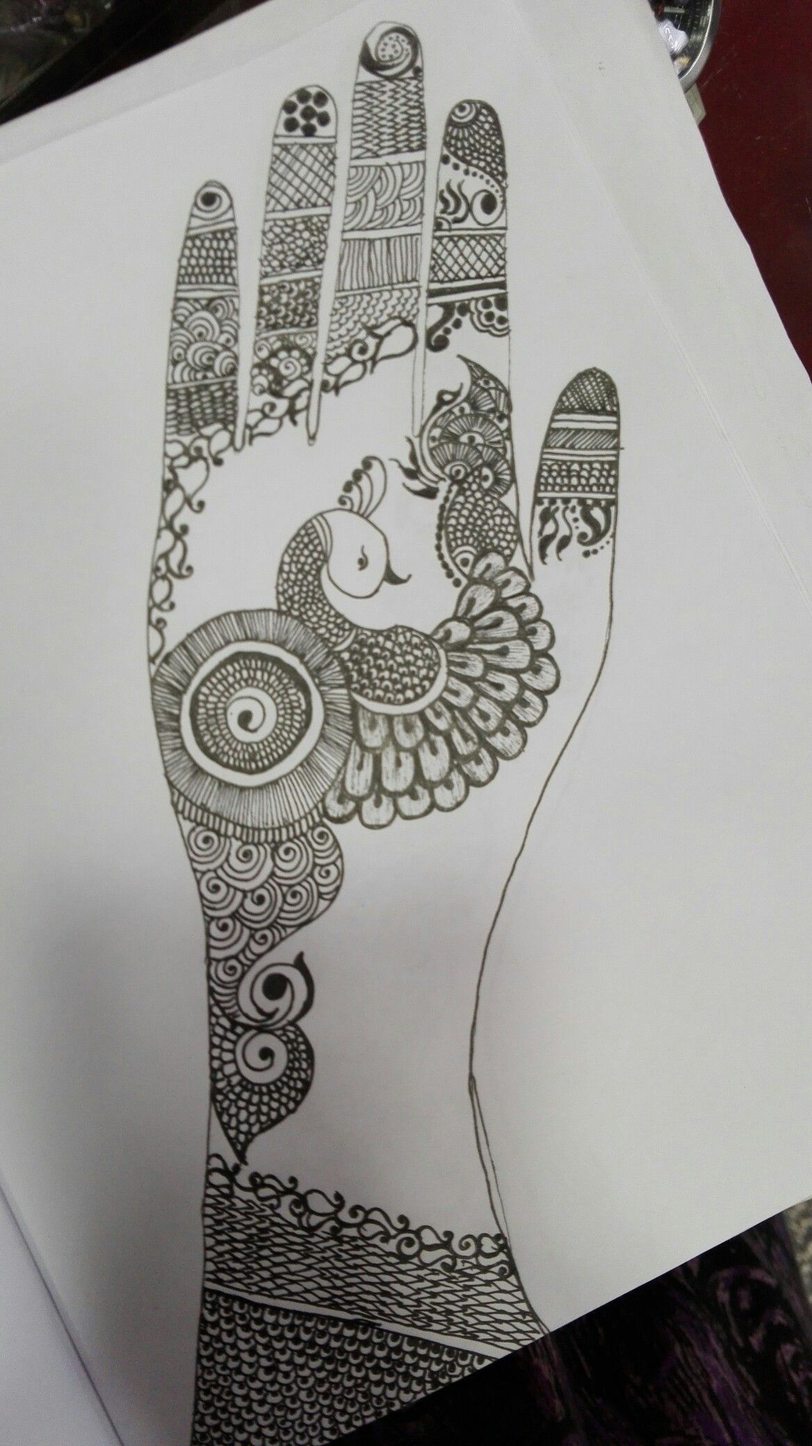 Mehandi design on pencil drawing
