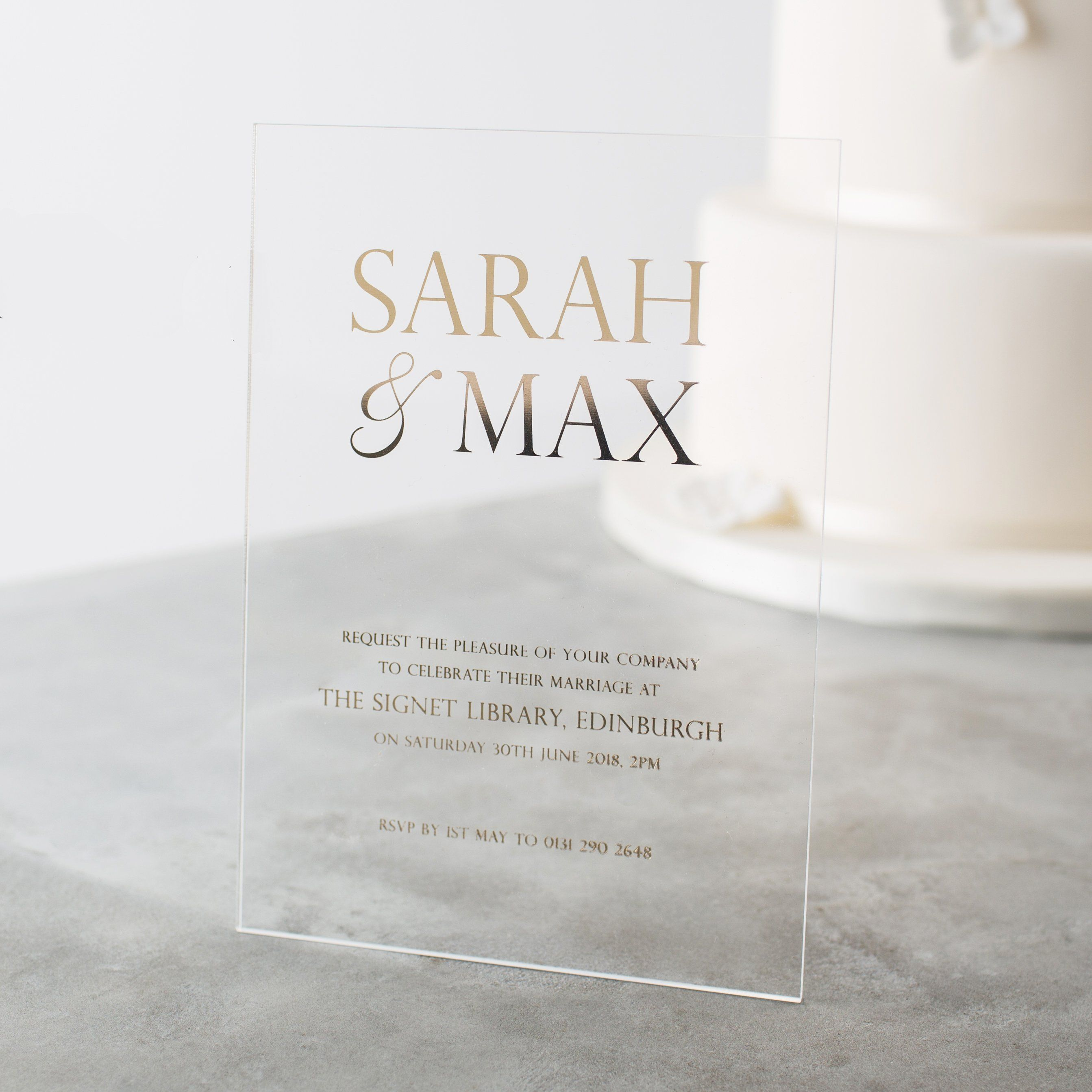 Personalised Acrylic Foiled Wedding Invitations | Wedding Ideas ...